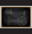 piston and wheel with shock absorber on a black vector image vector image