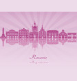 rosario skyline in purple radiant orchid vector image vector image
