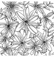 seamless pattern contour lily flower vector image vector image