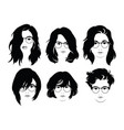 set hairstyles for women with glasses vector image vector image