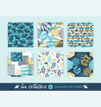 set trendy sea seamless patterns with hand vector image vector image