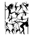 silhouette beautiful pole dancer vector image vector image