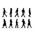 silhouette people walking set black men and vector image