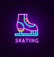 skating neon label vector image