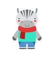Smiling Zebra In Red Scarf And Blue Outfit Cute vector image vector image