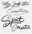 sport and martial art hand written typography vector image