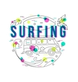 Summer Surfing Background with mini van and wave vector image