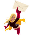 superheroine flying envelope vector image vector image