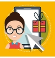 woman smartphone shopping online vector image
