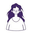 young woman cartoon character avatar isolated icon vector image