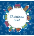 Christmas winter houses frame vector image