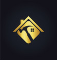 home renovation tool gold logo vector image