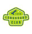 badge longboard club vector image vector image