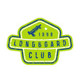 badge of longboard club vector image vector image