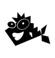 black icon funny fish cartoon vector image vector image