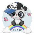 cartoon panda on rainbow vector image
