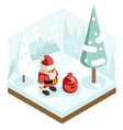 cartoon santa claus grandfather frost gift bag new vector image