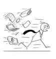 conceptual cartoon of businessman running away vector image