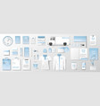 corporate identity template with soft blue pastel vector image