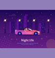 couple people driving cabriolet car at night vector image