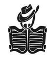 cowboy hat saloon icon simple style vector image