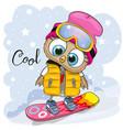 cute cartoon owl on a snowboard vector image vector image