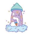 cute unicorn with ice cream kawaii vector image vector image