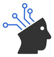 cyborg brain circuit icon vector image