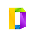 D letter one line colorful logo design template vector image vector image