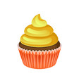 delicious chocolate cupcake with yellow cream vector image