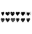 doodle sketch hearts vector image vector image