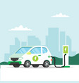 electric car charging with city background vector image vector image