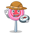 explorer cute lollipop character cartoon vector image vector image
