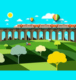 flat design landscape with modern train on high vector image vector image