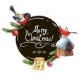 Greeting card with bullfinch Birdhouse Christmas vector image