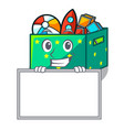 grinning with board character wooden box of kids vector image vector image