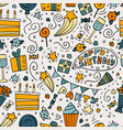 hand-drawn seamless pattern with birthday ink vector image