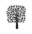 hand tree in black and white vector image