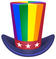 hat uncle sam cylinder rainbow coloring symbol vector image