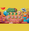 level up screen game with alien and ufo theme