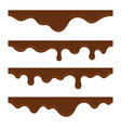 melted milk chocolate seamless border set vector image