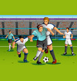 people playing soccer in the competition vector image vector image