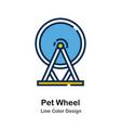 pet wheel line color icon vector image vector image