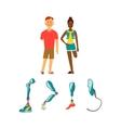 Prosthetic limbs flat icons Modern Exoskeleton vector image