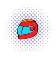 Racing helmet icon comics style vector image vector image