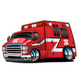 red paramedic ambulance rescue truck cartoon vector image vector image