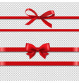 red silk ribbons set isolated transparent vector image vector image