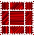 Red striped background with white beads vector image