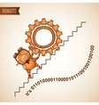 Robot pushing heavy gear upstairs vector image vector image