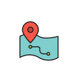 route on map icon symbol isolated on white vector image vector image